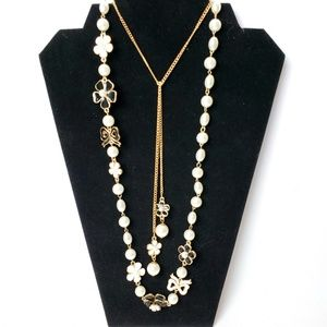 Long layer necklace w/ pearls & enamel florals & b